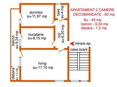 Apartament 2C D,et.2 la cheie!