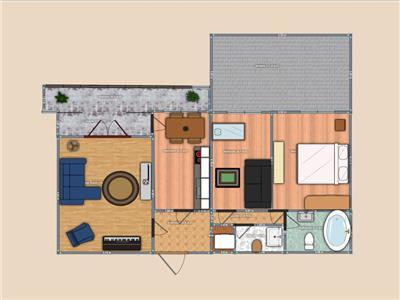 Centru Civic 3 camere D +terasa 30mp etaj intermediar